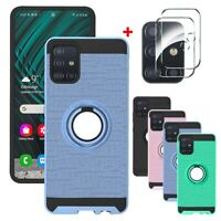 For Samsung Galaxy A51 A71 4G Case Ring Holder Stand Cover+Lens Protector Film