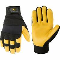 Men's Goatskin Leather Palm Hybrid Work Gloves Medium (Wells Lamont 3227) Black