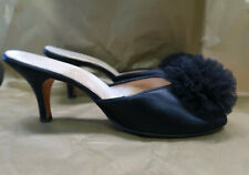 Vintage Black 50s 60s Satin Daniel Green Boudoir Slippers Size 8