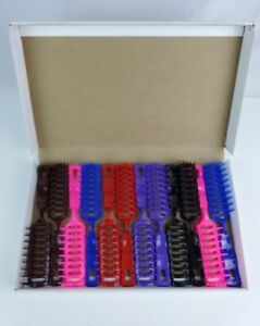 NOS Jet-Flow Turbo vented plastic hair brush full case of 12 Colorful Pink Blue