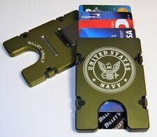 US Navy Billet Aluminum Wallet/Credit Card Holder, RFID protection, Green