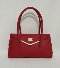 Modalu Red Genuine Leather Tote Underarm Shoulder Bag Medium Womens