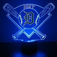 Detroit Tigers MLB Baseball Personalized FREE Light Up Illusion LED Light