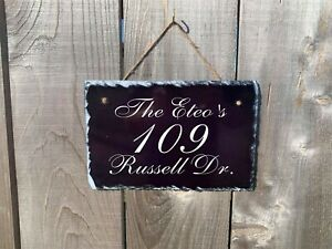 Personalized Home Address Plaque Made with Slate Custom House Number Sign sl04