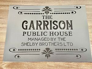 Peaky Blinders Stencil The Garrison Gin Bar Barrel Pub Wall Alcohol Decor Whisky
