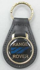 Vintage Range Rover Black Leather Keyring Goldtone Key Fob Key Holder