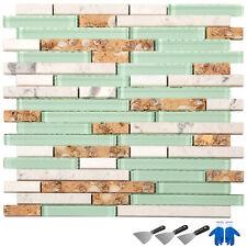 6pcs Glass Backsplash Tile Mosaic Tile Interlocking Tile Kitchen Beach Style