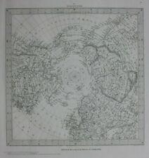 NORTH POLE, 'WORLD ON GNOMIC PROJECTION V', original antique map, SDUK, 1844