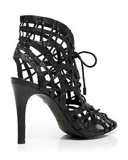 NWB Joie Leah Black Gladiator High Heel Sandals Lace Up Front Sz 8(EU 38)