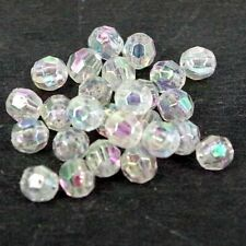 Crystal AB Clear ,Faceted Plastic Beads Small size, 6 x 5 mm 15g, 150 pack AB4