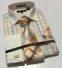 Men's Henri Picard Peach/Cream/Blue Checkered Design Cuffed Dress Shirt Combo