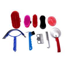 10 Pieces Equestrian Horse Grooming Kit Brush Comb Hoof Pick Sweat Scraper