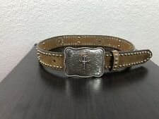 Nocona Girls Brown Leather Belt with Rhinestones/Crosses Buckle Size 24