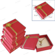 LOT OF (8) RED JEWELRY BOXES w/BOW TIE EARRING BOX PENDANT BOX LARGE GIFT BOXES