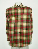 Orvis The Perfect Flannel Beige Plaid Cotton Button Shirt Mens Large