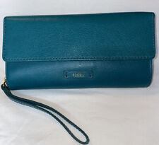 Fossil Green Leather Checkbook Wallet