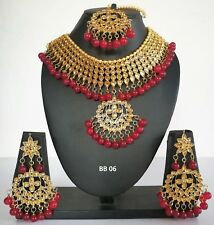 Indian Fashion Jewelry Bridal Wedding Pearl Kundan CZ Necklace Earring Tika Sets