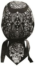 Black Cranium Skull Paisley Headwrap Bandanna Sweatband Durag Free Shipping