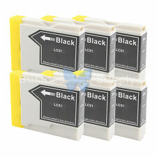 6 BLACK LC51 Ink Cartridge for Brother MFC-685CW MFC-465CN MFC-885CW LC51BK
