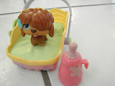 Littlest Pet Shop  accessories with shaggy dog- licking +bottle bed carrier