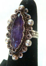 TAXCO Mexico 925 Sterling Silver Unique Ring w/Amethyst Stone Size 4.5 Antique
