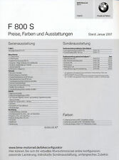 BMW F 800 S Preisliste 2007 1/07 price list prijslijst Motorradpreisliste moto