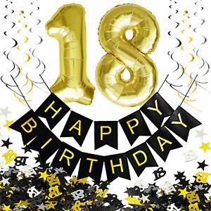 18. Geburtstag Deko Set - Folien Luftballons 18 Deckenhänger Girlande Konfetti
