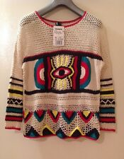 NEW DESIGUAL COTTON MULTICOLOR  LONG SLEEVE CROSHETED SWEATER  TAG SZ M  USA-S