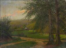 "ALBERT BOGISLAV LÜDECKE (1834–1910) ""LANDSCHAFT"" UM 1900 JUGENDSTIL 33 x 45 cm"