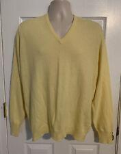 LYLE & SCOTT Mens 100% Cashmere Sweater Scotland Yellow V-neck Size Large (44)
