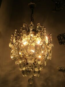Antique French Cage Crystal Chandelier Lamp Lustre Luster1940's 14in Ø diameter