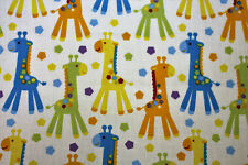 Fabric Giraffes Animals White Fat Quarter Quilting Cotton Baby Nursery Material