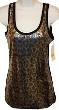 Karen Kane Womens Ladies Black Silver Cheetah Sequin Tank Top Size Small