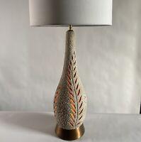 Vintage Mid Century Modern Sculptural Ceramic Cut Out Floral Lamp Nite Lite Body