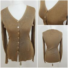 Principles Cardigan Top Gold Glittery Sparkly Shiny Party Evening Size 12 Thin