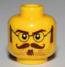 Lego Yellow Minifig Head Bifocals Handle Bar Mustache Reddish Brown Hair Glasses