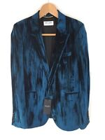 Saint Laurent Paris Crinkled Velvet Blazer Jacket - Blue UK10/FR38 RRP £2445 New