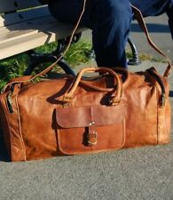 Männer braun Leder Vintage Duffle Gym Weekender über Nacht Reisetasche