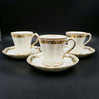 Limoges Theodore Haviland Demitasse Cups Saucers Set 3 White Gold France Antique