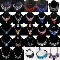 Women Fashion Charm Jewelry Crystal Choker Chain Chunky Statement Bib Necklace