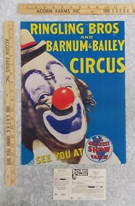 1960s RINGLING BROS. CIRCUS Lou Jacobs CLOWN Mini Windowcard + RBBB Orig Ticket