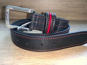 Black Belt Red Stitching Real Italian Leather Chrome buckle 38mm Wide Ai