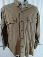 Duluth Trading Co. Mens L Light Brown Vented Outdoor Hiking Fishing L/S Shirt