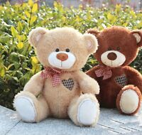 30cm Teddy Bear Grid Heart Stuffed Plush Scarf Beige Animals Soft Toy Doll Gifts