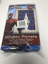 "New ListingWindow Curtain Panels Pair Tie Backs Kids Drape Set Spiderman Astonish 42"" X 63"""