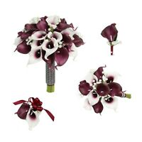 Artificial Realtouch Burgundy Calla Lily Baby Breath Bouquet Corsage Boutonniere