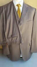 Sergio VALENTINO Collection Brown Chkd Wool 3 Btn Suit Coat US 46L EU 56L Italy