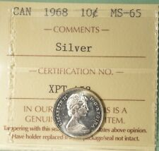1968 Canada Silver 10 Cents - Graded ICCS MS-65
