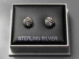 Sterling Silver 925 Stud Earrings  WOOL LOVE KNOT DESIGN BUTTERFLY BACKS ST 214