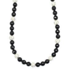 Faux Onyx noir et boule de cristal Shamballa Style un collier de perles 30 in (environ 76.20 cm)